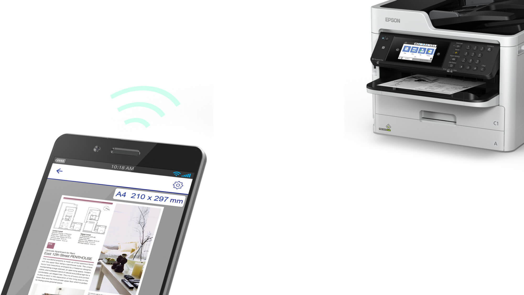 Epson A4 Mono Printer remote printing from mobile